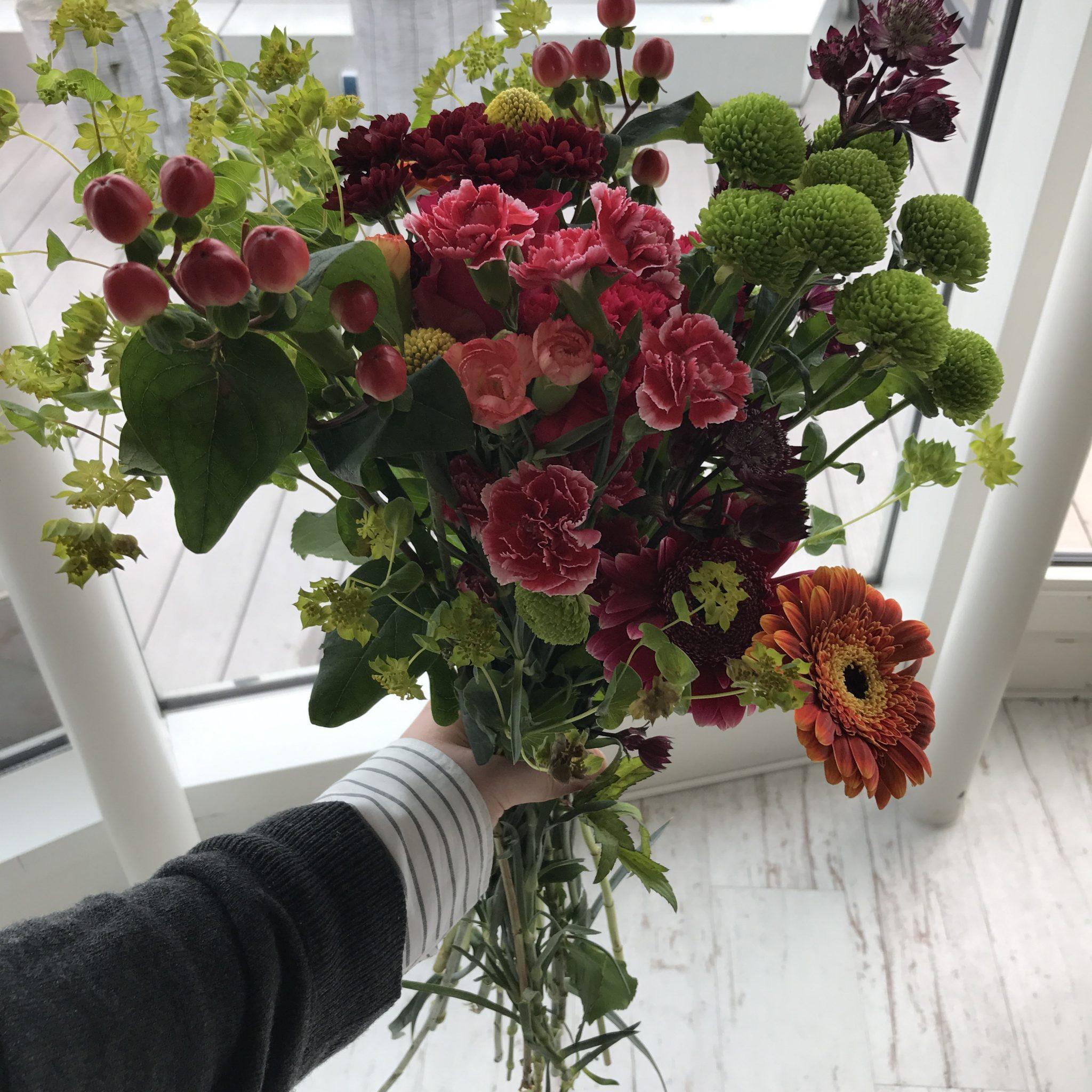 Modebloggerin Deutschlag Hamburg Instagrammer Blumenstrauß Herbst